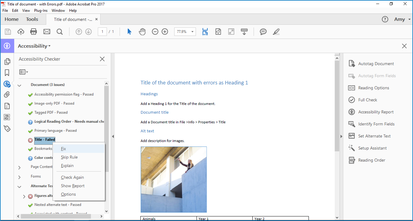 Title failed in Acrobat Professional